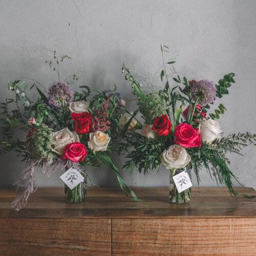 Double pink and purple floral arrangement