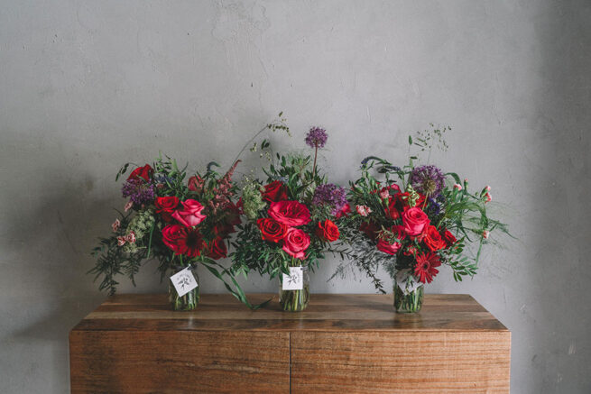 Triple red and pink floral arrangement