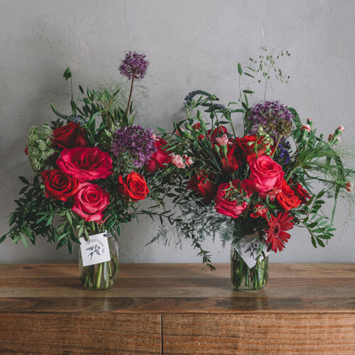 Double red and pink floral arrangement