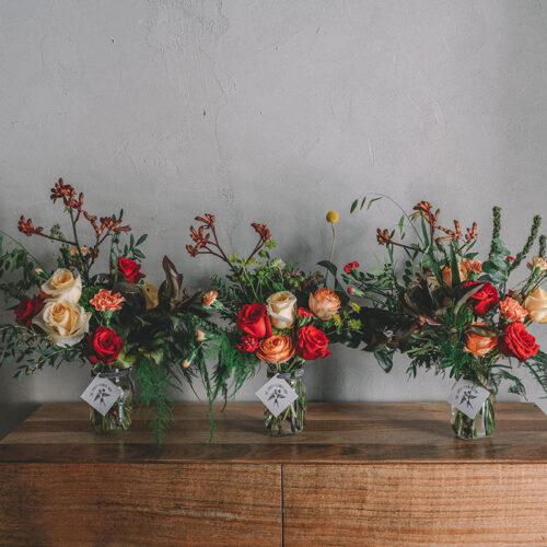 Triple red and orange floral arrangement