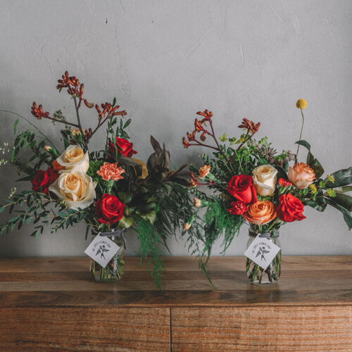 Double red and orange floral arrangement
