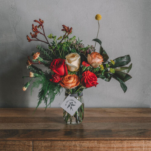 Red and orange floral arrangement