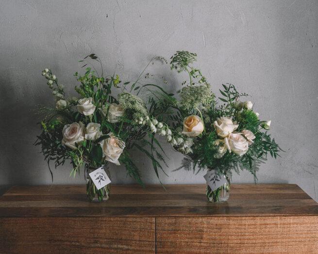 Double jar white florals
