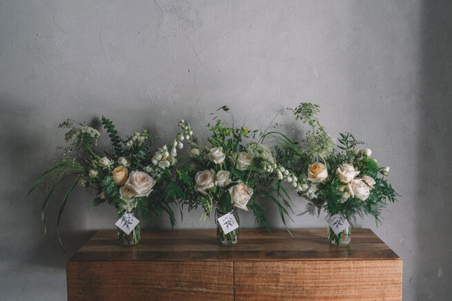 Triple jar white florals