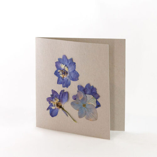 Natural Grey Card with pressed Delphiniums petals
