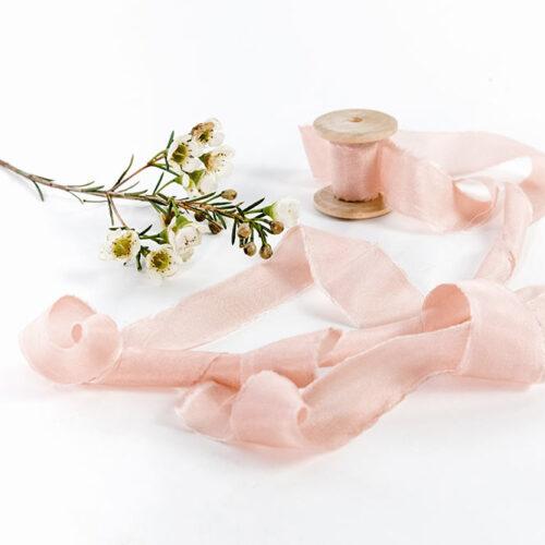 Natural Silk Ribbon - 3m of Blush Pink