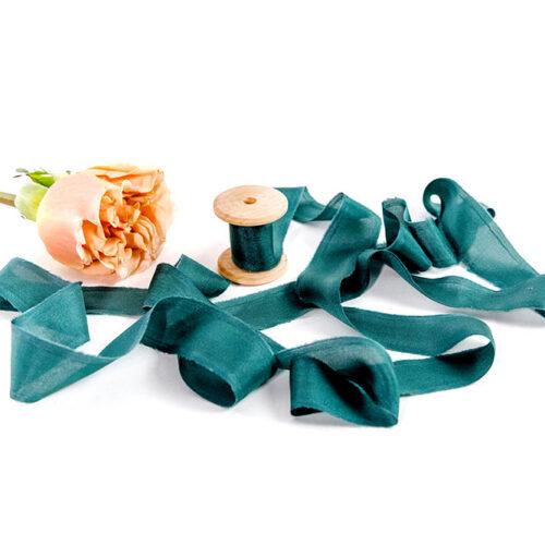 Natural Silk Ribbon - 3m of Deep Green