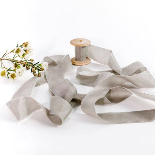 Natural Silk Ribbon - 3m of Light grey