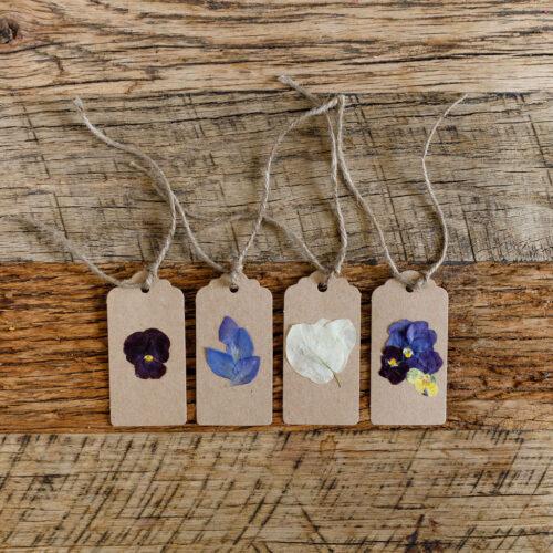 Pressed flower tags - brown- set of 4