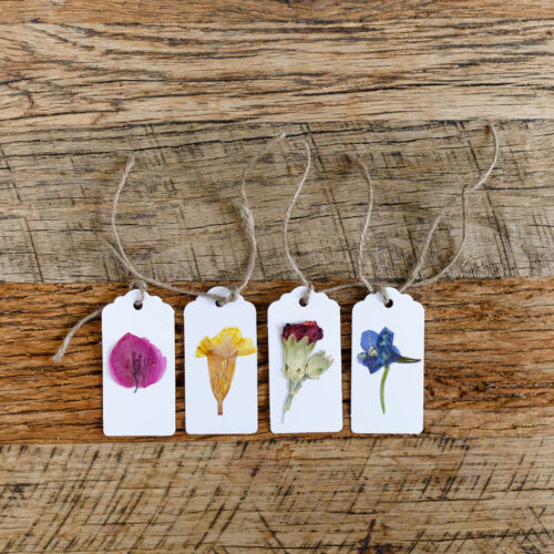 Pressed flower tags - white - set of 4