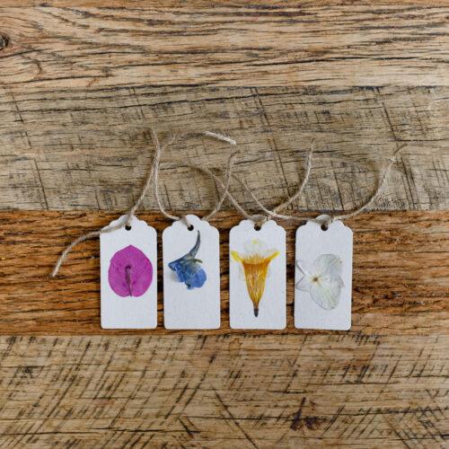 Pressed flower tags - grey- set of 4