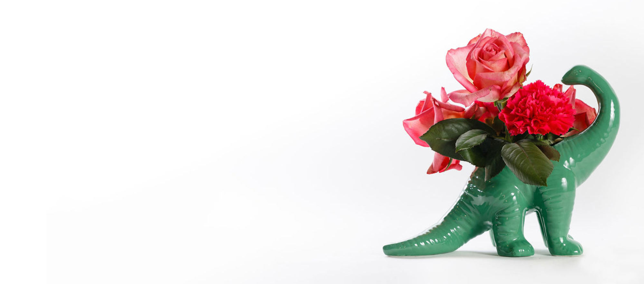 Dinosaur Vase with Floral Arrangement