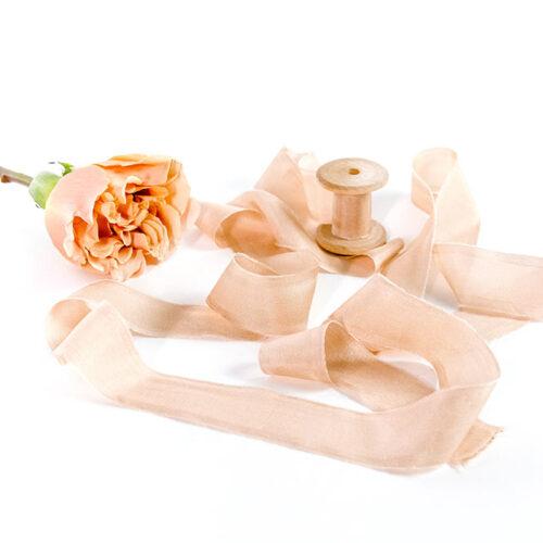 Natural Silk Ribbon - 3m of Dusty Peach