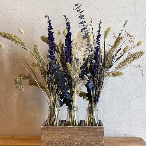 Trio of dried flowers + dried blue Delphinium