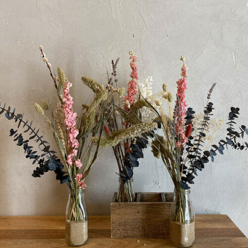 Trio of dried flowers + dried pink Delphinium