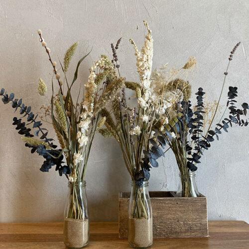 Trio of dried flowers + dried white Delphinium