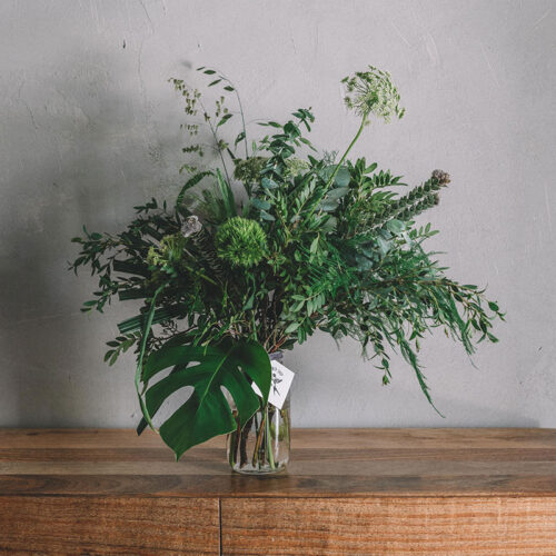 Quirky green floral arrangement