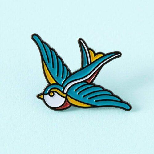 Swallow Tattoo Inspired Enamel Pin