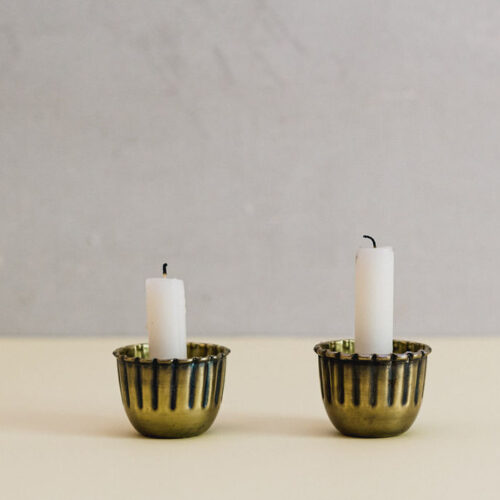 Brass metal candle holders - set of 2