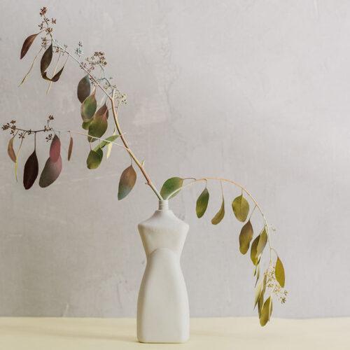 Curvy Bottle Vase - Bisque