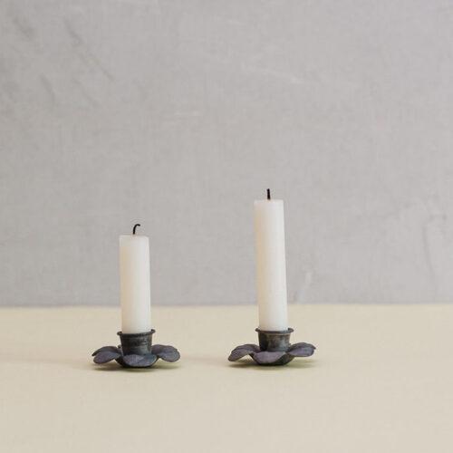Antique zinc flower candle holder - set of 2