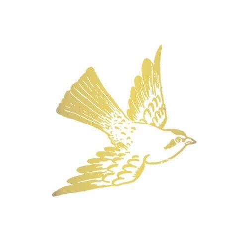 CARTOLINA BIRD (GOLD) BY FIONA RICHARDS FROM TATTLY TATTOOS