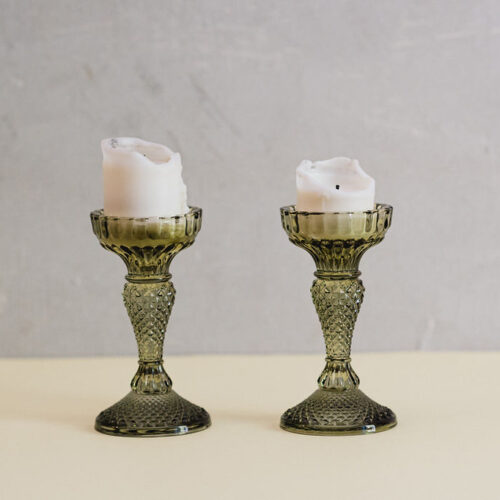 Olive green glass cut candle holder