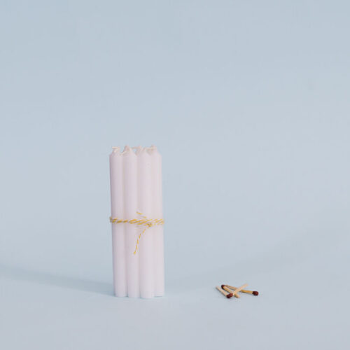 White short taper candles - pack of 10.