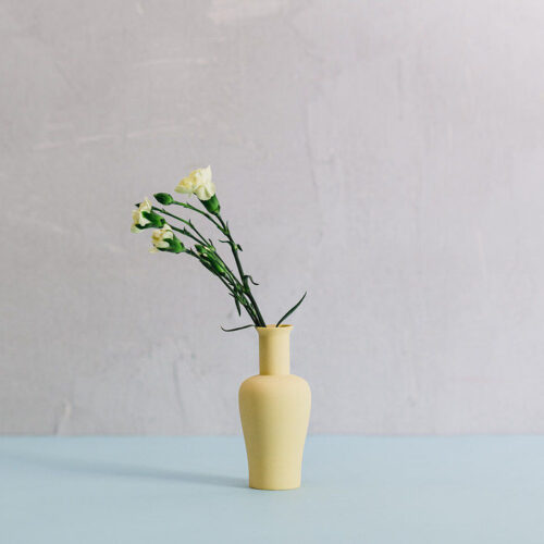 Porcelain Mini Vase Style 3 - Butter yellow