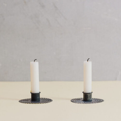 Antique zinc candle holder with pattern