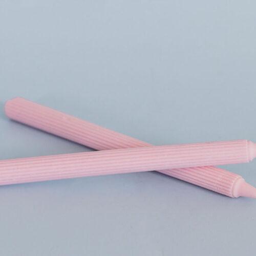 Ribbed pillar candle - Pink