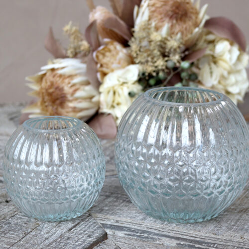 Round glass vase with grooves - Large