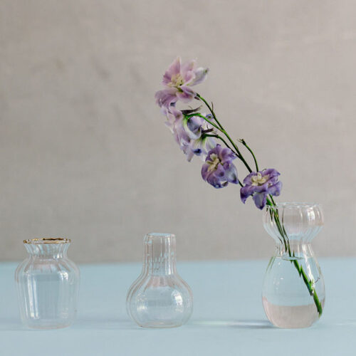 Bud vases with gold rim - Set of 3.