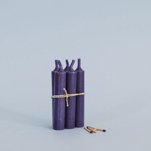 Dark purple short candle - Pack of 5