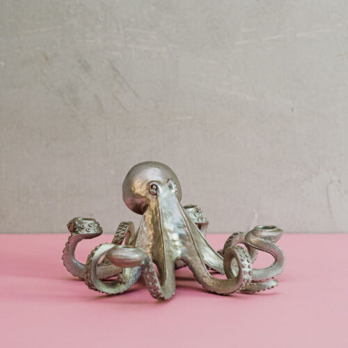 Silver octopus candle holder