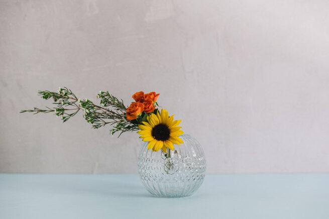 Large round glass vase
