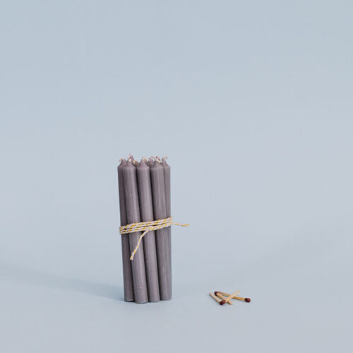 Grey short taper candles - pack of 10.
