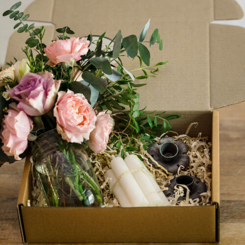 Gift Box Style 3 - Antique flower candle holder, candles + Flowers