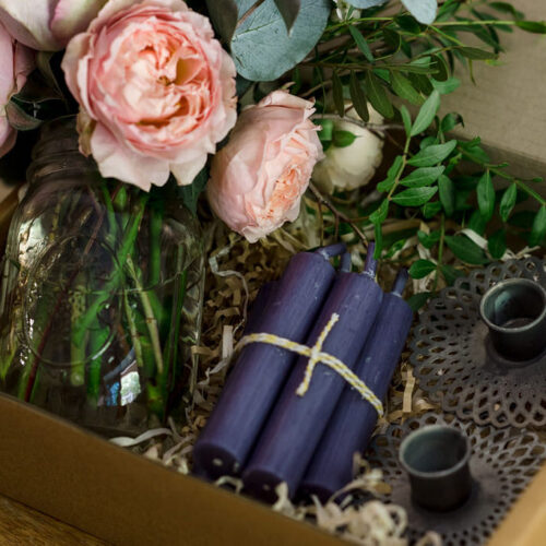 Gift Box Style 2 - Antique zinc candle holder, candles + Flowers