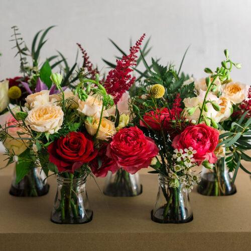 Bottled flowers - set of 5