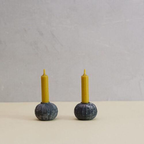 Antique zinc candle holder - set of 2