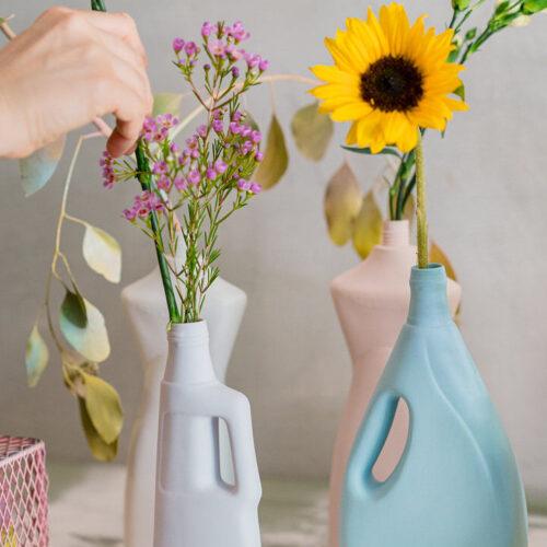 Laundry Detergent Bottle Vase - Denim