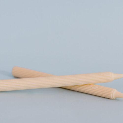 Ribbed pillar candle - Yellow