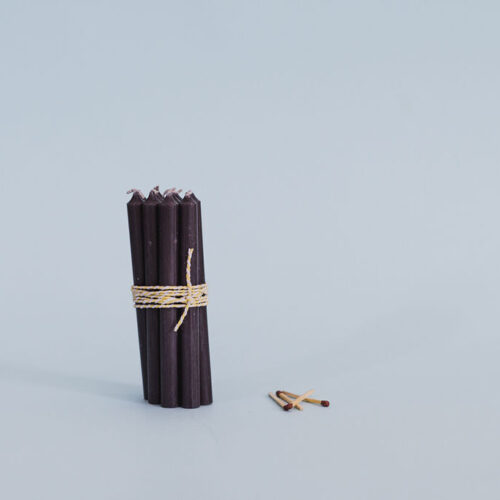 Charcoal short taper candles - pack of 10.
